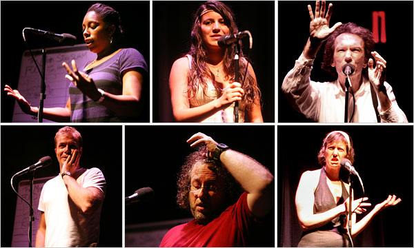 Photograph by Michael Falco for The New York Times. Performers at the Nuyorican Poets Cafe during a Moth story slam.